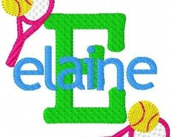 Tennis Sports Monogram Font Machine Embroidery Design Set // Joyful Stitches