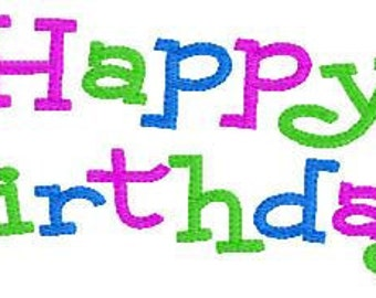 Happy Birthday Machine Embroidery Design 5 by 7 // Joyful Stitches