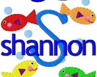 Fish Monogram Machine Embroidery Font Designs, Machine Embroidery Designs, Embroidery Font   // Joyful Stitches