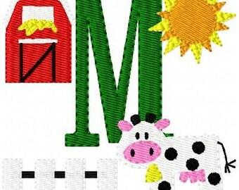 Cow // Farm // Monogram Machine Embroidery Font Design Set, machine embroidery designs, farm embroidery designs, barn // Joyful Stitches