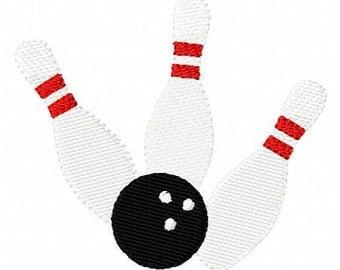 Bowling Ball & Pins Machine Embroidery Design // Joyful Stitches