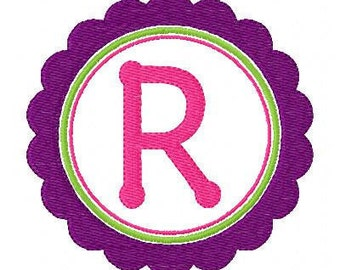 INSTANT DOWNLOAD Ruffle Triple Circle Monogram Embroidery Font Design Set