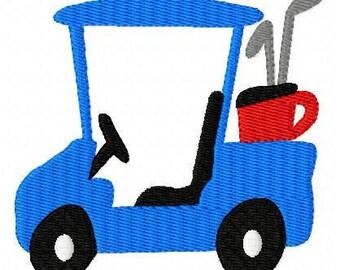Golf Cart // Machine Embroidery Design // Joyful Stitches