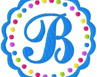 Scallop  and Dots Machine Embroidery Monogram Design Set, Machine Embroidery Designs, Embroidery Font, Circle Monogram // Joyful Stitches