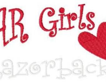 Arkansas Girls Love Razorbacks Machine Embroidery Design, Football Embroidery Design, Heart Embroidery Design, 5x7 // Joyful Stitches