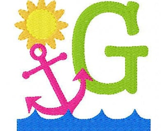 Anchor Summer Embroidery Monogram Embroidery Design Set // Joyful Stitches