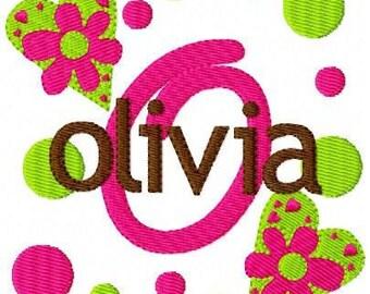 Heart Flower Girlie Valentine Monogram Machine Embroidery Font Design Set // Joyful Stitches
