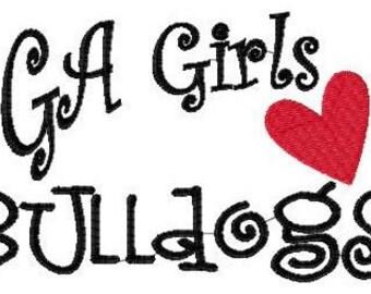 Georgia Girls Love Bulldogs Machine Embroidery Design 5 by 7 // Joyful Stitches