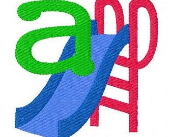 Playground // Slide //Machine Embroidery Monogram Font Design Set, Machine Embroidery Designs, Embroidery Font // Joyful Stitches