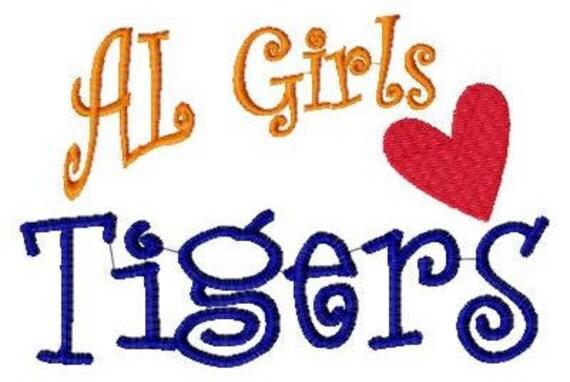Alabama Girls Love Tigers Machine Embroidery Design 5 by 7 // Joyful Stitches