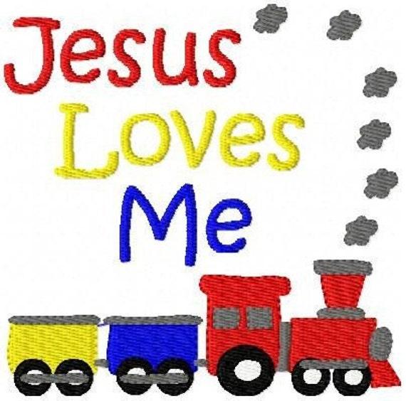 Jesus Loves Me Train Machine Embroidery Design // Joyful Stitches