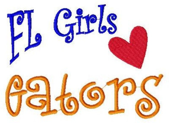 INSTANT DOWNLOAD Florida Girls Love Gators Machine Embroidery Design 5 by 7