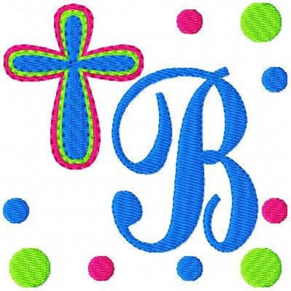 Cross Dots Monogram Embroidery Designs Font Set // Joyful Stitches