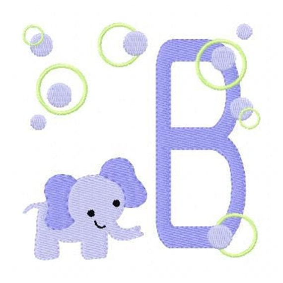 INSTANT DOWNLOAD Purple Baby Elephant Monogram Machine Embroidery Design Set
