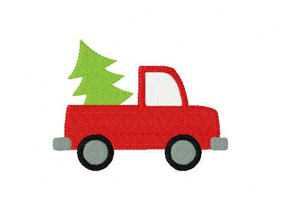 Truck with Christmas Tree Machine Embroidery Design // Joyful