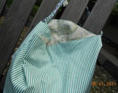 Summer Green and White Stripe with Soft Floral Pattern Lining Large Tote