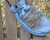 Reversable Denim and Suede with Leather Braided Shoulder Strap Purse/Handbag/Satchel/Pouch