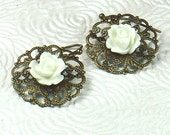 White Rose on Brass Filigree Vintage Style Floral Earrings