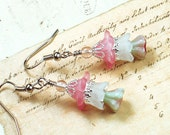 Omsk, Vintage Inspired Floral Earrings, Pink & White Lucite Flowers and Czech Glass