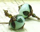 Sea Goddess Earrings Blue Amazonite with Czech Glass & Hand Colored Brass