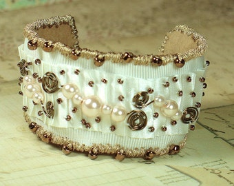 Ivory Gold & Bronze Ribbon Beaded Bracelet (OOAK)