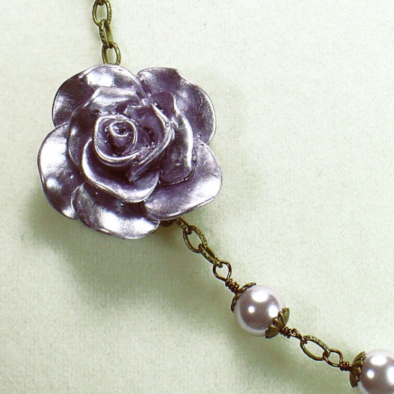 Lavender Rose Necklace with Pearls Asymetrical Design