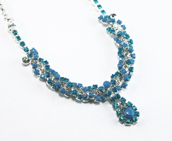 Aqua, Powder Blue, and Crystal Painted Rhinestone Necklace OOAK
