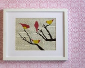 Bird on Branch Art, Woodland Wall Art, Birds on Winter Branch over Vintage Book Pages, Pink Songbirds At Rest - 8x10 Original Collage