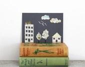 Little Town with Far Away Birds - 5x7 original collage
