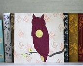 Owl Decor With Leafy Branch- 8x8 Paper Collage on Wood, Magenta and Gold,