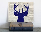 Deer Art, Antler Wall Art, Deer Silhouette, Royal Blue Deer Head Collage on Vintage Book Page Background, 8x10