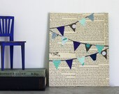 Pennant Flag Nursery Art, Bunting Collage in Blues, Pennant Banners Over Vintage Book Pages