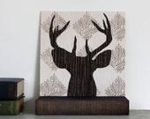 "Deer Art, Deer Head Silhouette, Woodland Wall Art, Antler Wall Art, Hand Cut Deer Head Silhouette on 8""x8"" Birch Panel"