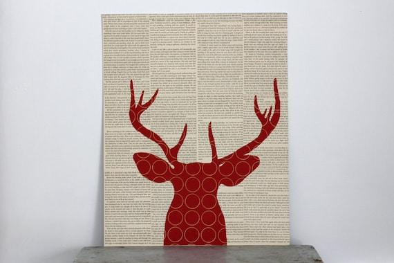 "Red Deer Collage Over Vintage Book Pages, Large Format: 16x20"", Deer Head Silhouette Art, Woodland Wall Art, Antler Art, Deer Art"