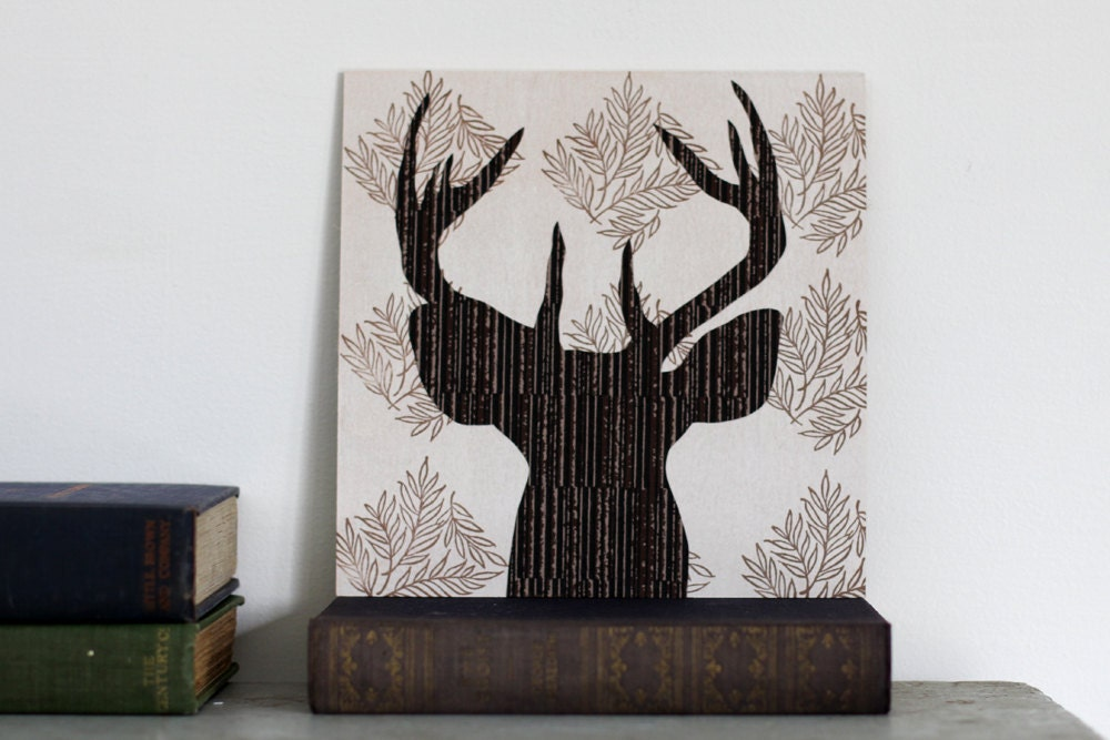 Wall Art Of Deer : Items similar to deer art head silhouette woodland
