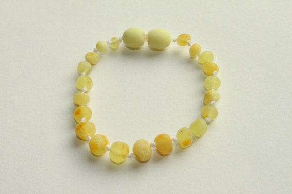 Genuine RAW Baltic Amber Anklet/Bracelet for Baby/Toddler  - One of the most therapeutic variety of Amber - Natural Pain Reliever - In Stock