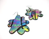 Hand Painted Canvas Earrings - Flower Shape - Blue, Black, Yellow, Pink with Glitter