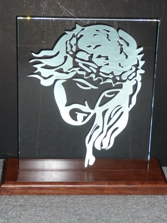 Jesus Etching in Clear Glass, Hand Etched / Carved with LED Lights. Price REDUCED from 79.99