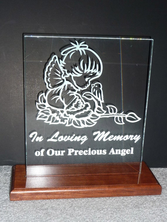 Little Girl Angel, Custom Hand Etched/Carved in Lighted Clear Glass. Price Reduced from 79.99