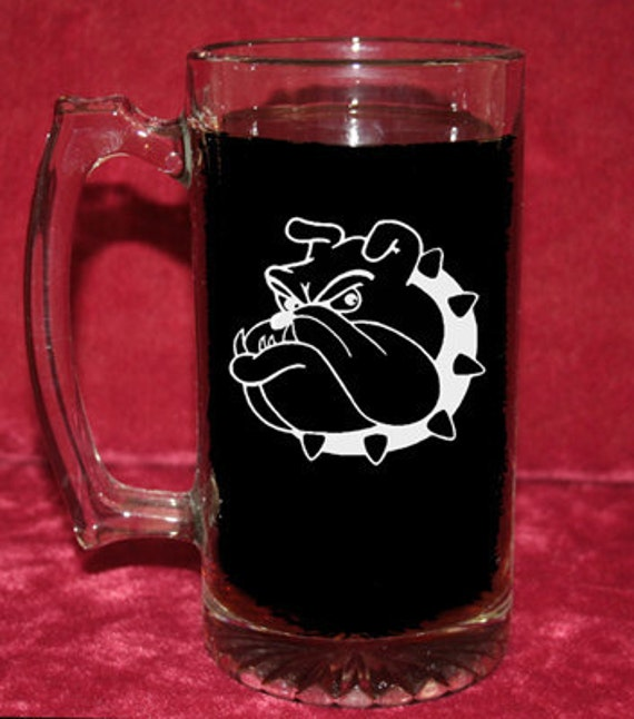 25 oz Beer Mug, Etched:  Bulldog