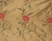 Golden Taffeta Silk Ground Embroidery Sample