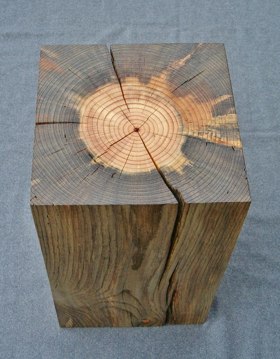 Blue Stain Pine Block Side Table - Reserved for Ken