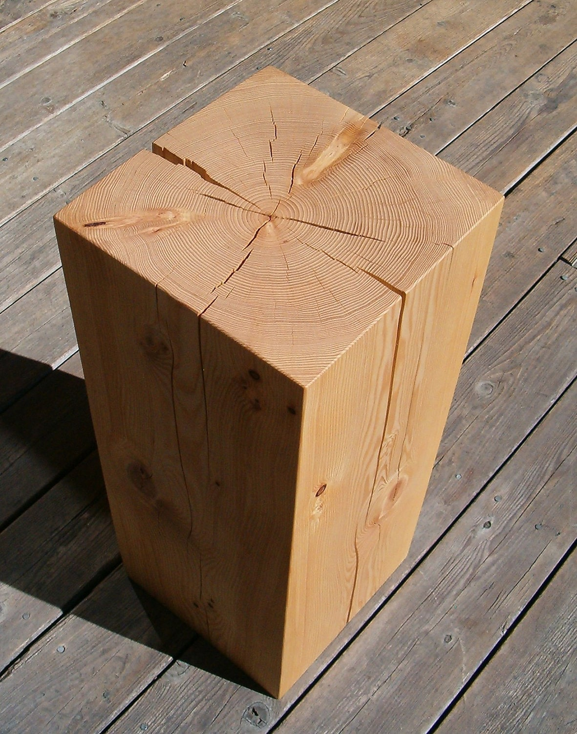 Block Wood Side Table ~ Hemlock wood block side table
