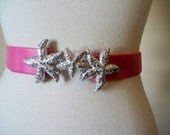 Vtg PINK Faux Leather Wrap SILVER Starfish Buckle Belt S M