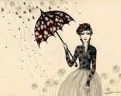 Rain In Paris    - Original Drawing