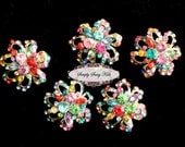 RD82 5 pcs Multi Color on Platinum Metal Flat Back Embellishment Buttons flowers invitations favors bouquets napkins accessories hair clips