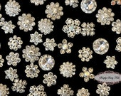 20pc Dainty Clear Rhinestone Embellishment Buttons Brooches DIY wedding bridal favors bling invitations