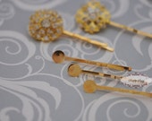 50 pcs 45mm Iron Gold Plated Hair Pin 8mm Blanks with pads wedding bridal hair clip hardware finding