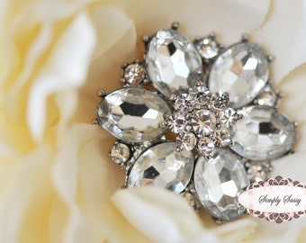 3 pcs RD123 Rhinestone Metal Flatback Embellishment Button Brooch Bridal accessories invitations crystal bouquet flowers hair clip comb