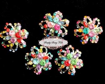 RD82 5 pcs Multi Color on Platinum Metal Flat Back Embellishment Buttons flowers invitations favors bouquets napkins accessories hair clips